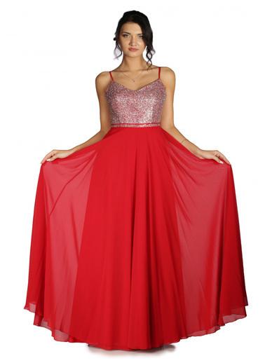 Pierre Cardin Üstü Simli Altı Şifon Uzun Abiye Elbise Kırmızı